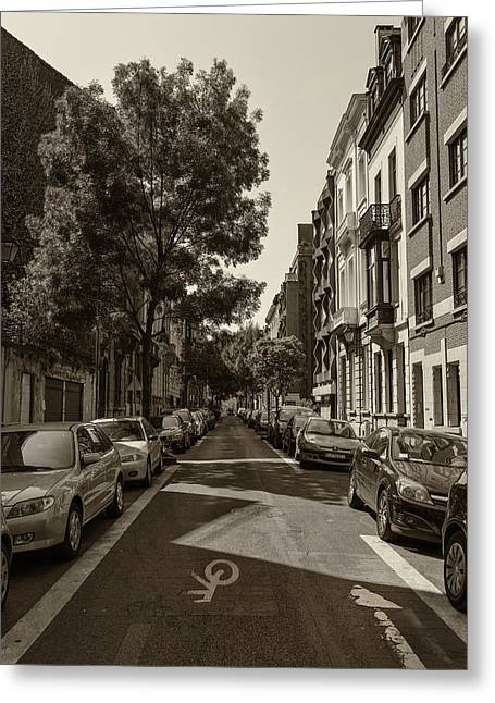 A Belgian Street In Bruxelles Greeting Card by Georgia Fowler