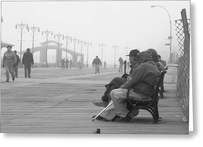 A Bench At Coney Island Greeting Card by Peter Aiello