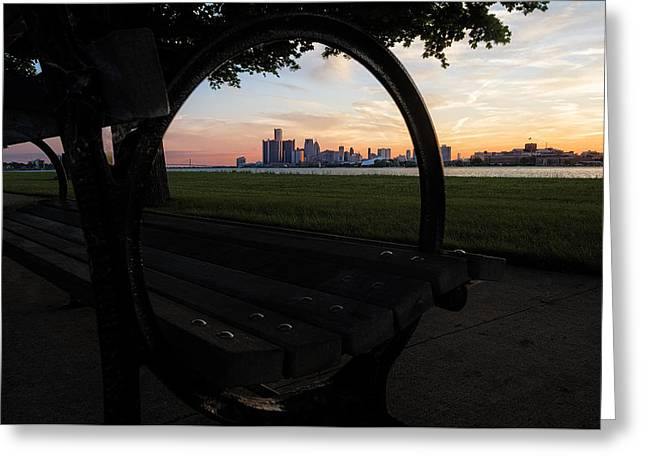 Rencen Greeting Cards - A Bench Sunset Greeting Card by Bryan Levy
