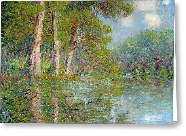Best Sellers -  - Trees Reflecting In Water Greeting Cards - A Bend in the Eure Greeting Card by Gustave Loiseau