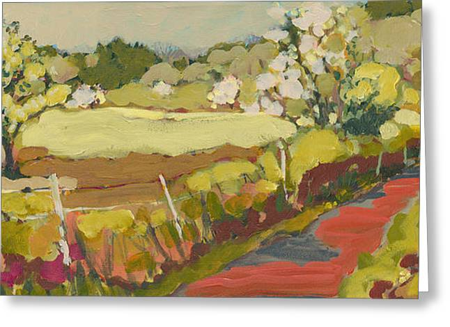 Apple Orchards Greeting Cards - A Bend in the Road Greeting Card by Jennifer Lommers