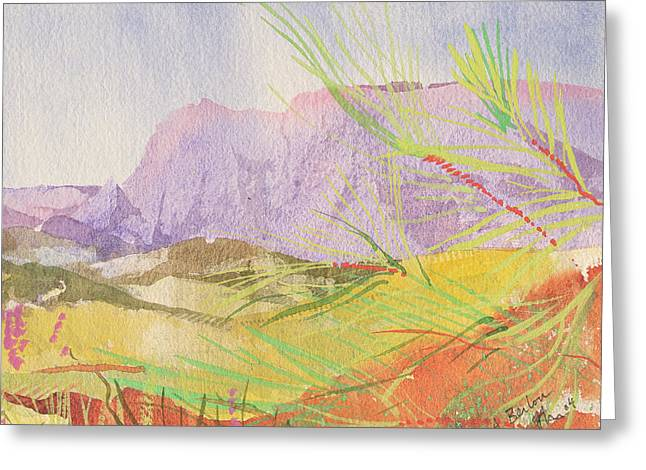 Mediterranean Landscape Drawings Greeting Cards - A Berlou Greeting Card by Simon Fletcher