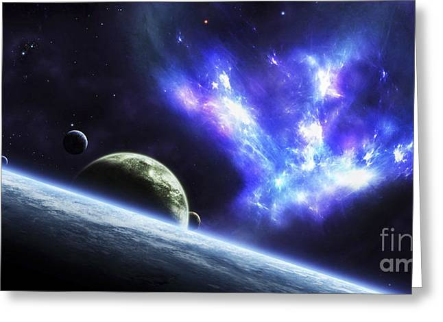Fantasy World Greeting Cards - A Bird-shaped Nebula Watches Greeting Card by Justin Kelly
