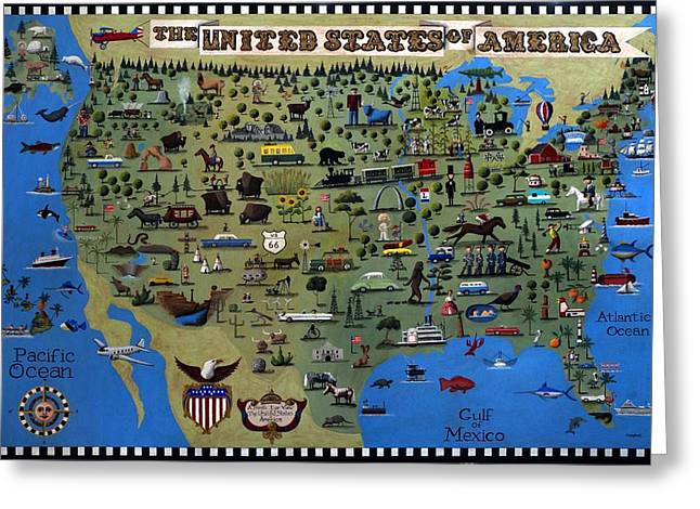 Tennessee Landmark Paintings Greeting Cards - A Birds Eye View of the United States of America Greeting Card by Timothy Campbell