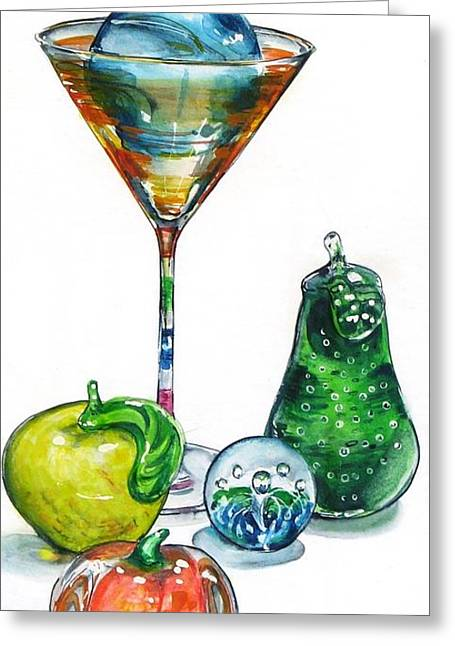 Bubbly Paintings Greeting Cards - A Bit of the Bubbly Greeting Card by Jane Loveall
