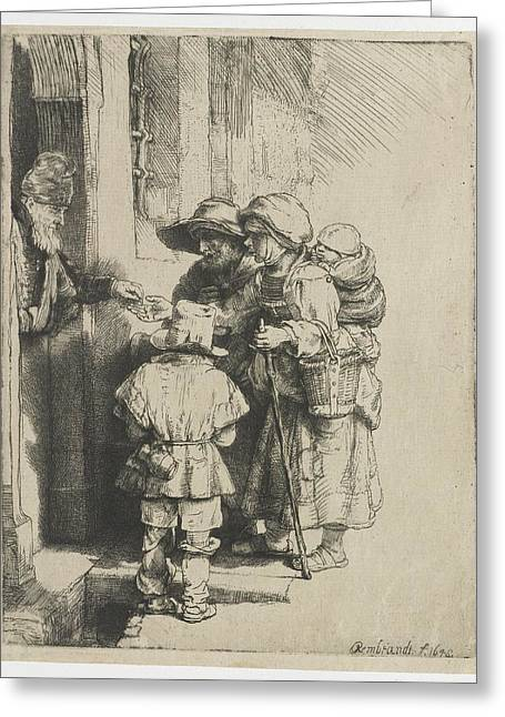 Hurdy-gurdy Greeting Cards - A blind hurdy-gurdy player with family these receives alms Greeting Card by Celestial Images