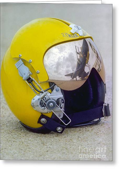 Angel Blues Greeting Cards - A Blue Angels Pilot Helmet Greeting Card by Michael Wood