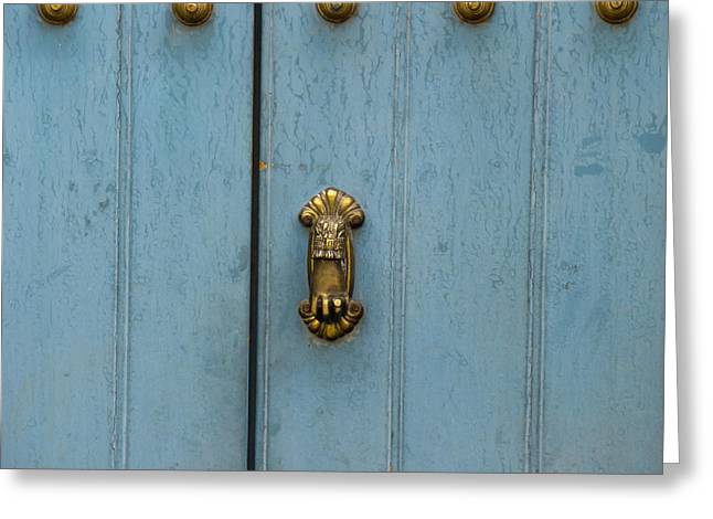 Entrance Door Greeting Cards - A Blue Door With Brass Decorative Knobs Greeting Card by Keith Levit