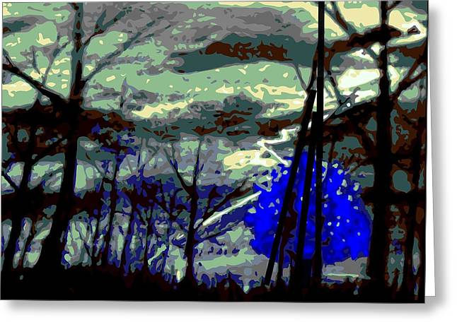 Storm Prints Digital Greeting Cards - A blue stormy mood Greeting Card by Larry E