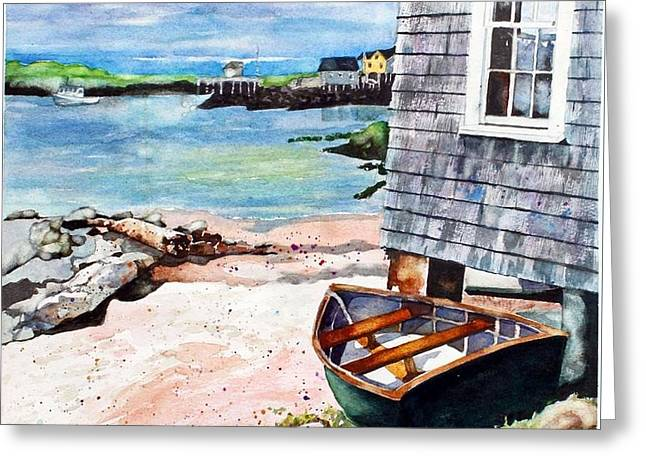 Docked Boats Greeting Cards - A  Boat In Maine Greeting Card by Judy CHAMPION