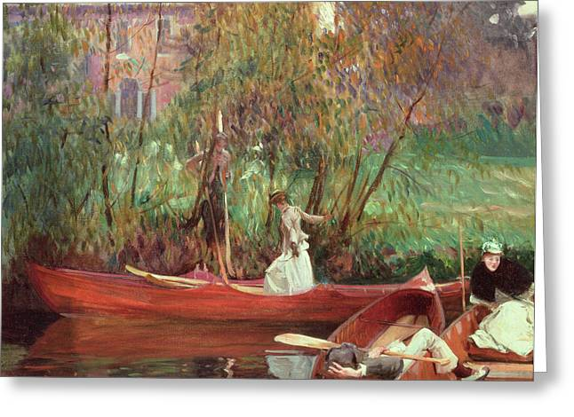 Lights Reflecting On Water Greeting Cards - A Boating Party  Greeting Card by John Singer Sargent