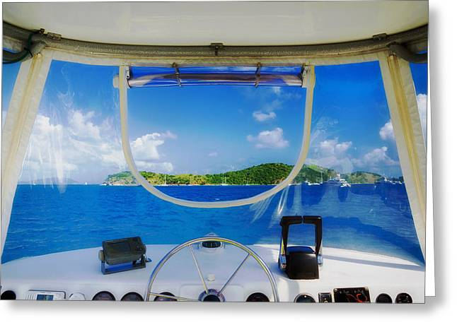 Ocean Vista Greeting Cards - A Boating View Greeting Card by Cosmic Time Traveller