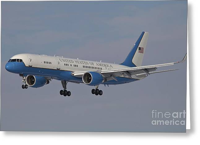 First-class Greeting Cards - A Boeing C-32a Of The 89th Airlift Wing Greeting Card by Timm Ziegenthaler