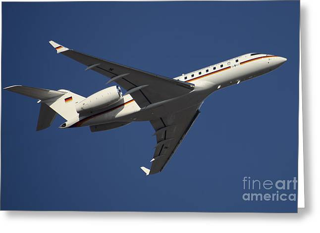 First Class Greeting Cards - A Bombardier Global 5000 Vip Jet Greeting Card by Timm Ziegenthaler