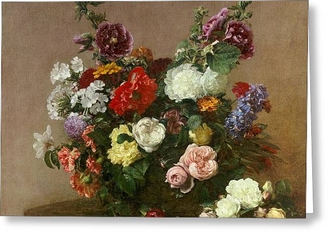 Cheery Greeting Cards - A Bouquet of Mixed Flowers Greeting Card by Ignace Henri Jean Fantin-Latour