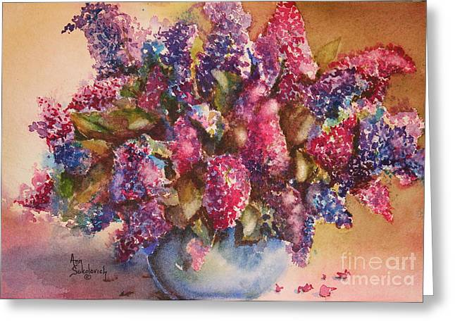 Sokolovich Paintings Greeting Cards - A Bowl Full of Lilacs Greeting Card by Ann Sokolovich