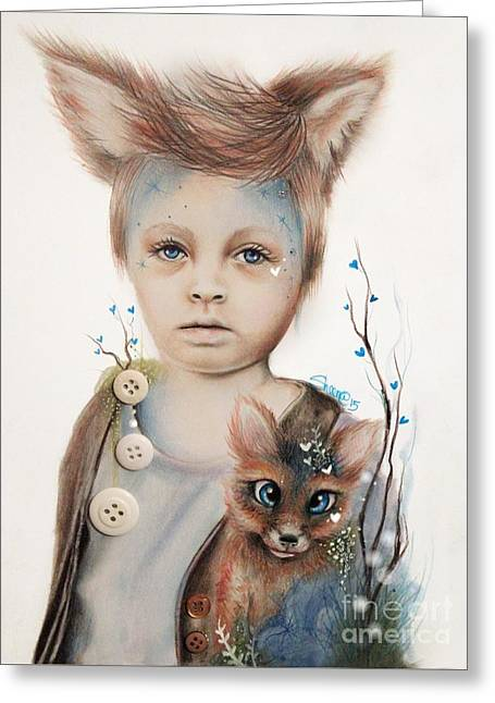 Innocence Greeting Cards - A Boy and His Fox   Greeting Card by Sheena Pike