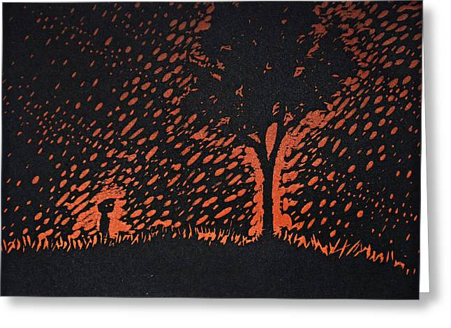 Printmaking Greeting Cards - A Boy and His Tree Greeting Card by Austin Howlett