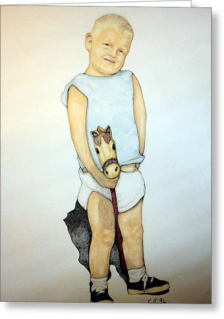 Full-length Portrait Mixed Media Greeting Cards - A Boy On A Stickhorse Greeting Card by Edward Ruth