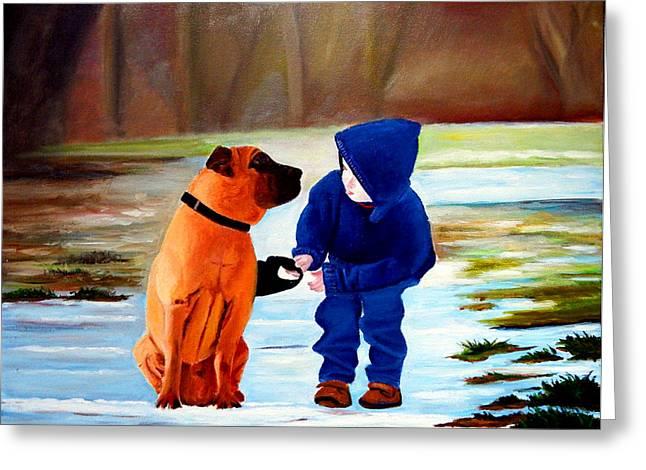 Dog Walking Greeting Cards - A Boys Best Friend Greeting Card by JoeRay Kelley