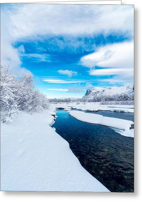 River. Clouds Greeting Cards - A brand new day Greeting Card by Tor-Ivar Naess