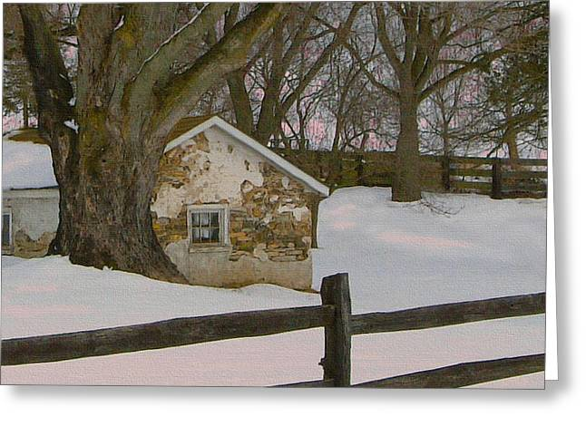 Stone Barn Greeting Cards - A Brandywine Winter Greeting Card by Gordon Beck