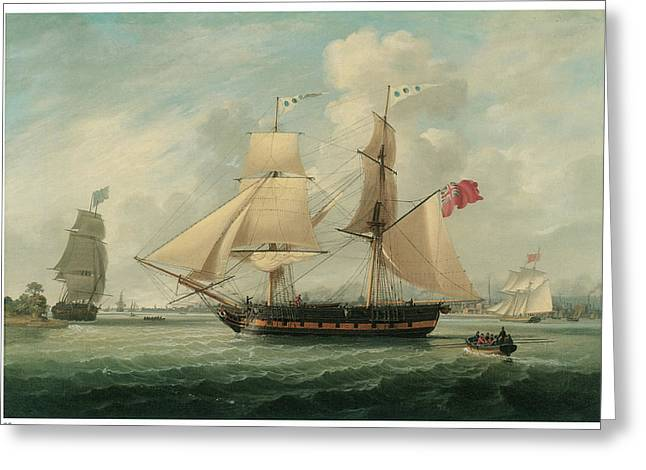 Sea Going Greeting Cards - A Brig Entering Liverpool Greeting Card by John Jenkinson