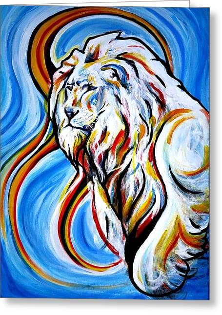 Lions Greeting Cards - A Brilliant Lion Greeting Card by Pedro  Flores