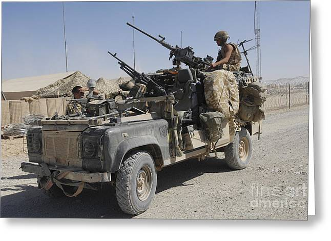 Bastion Greeting Cards - A British Armed Forces Land Rover Greeting Card by Andrew Chittock