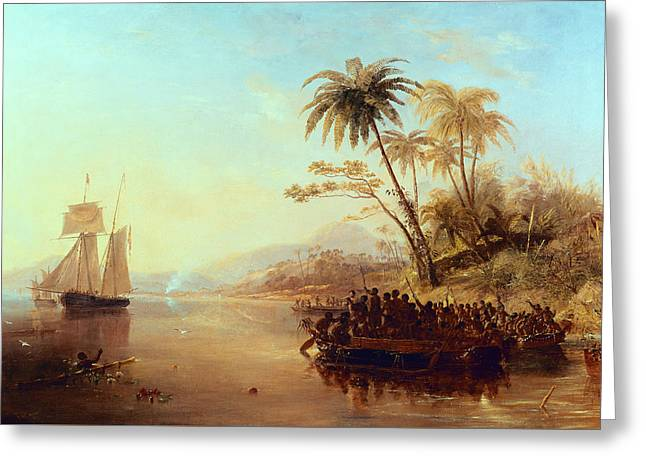 South Pacific Greeting Cards - A British Surveying Ship in the South Pacific Greeted by Islanders Greeting Card by John Wilson Carmichael