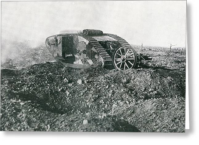 Western Front Greeting Cards - A British Tank In Action On The Western Greeting Card by Ken Welsh