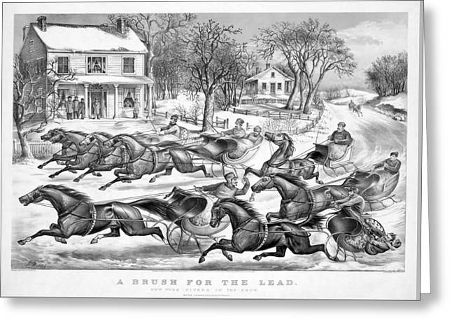 Winter Roads Drawings Greeting Cards - A Brush For The Lead Greeting Card by Currier And Ives