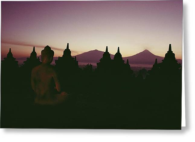 Sculptures Of Deities Greeting Cards - A Buddha sits in the Greeting Card by Dean Conger