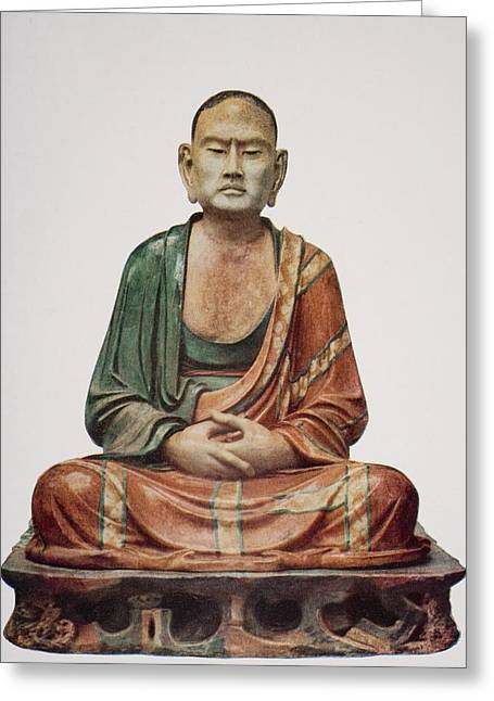 Meditate Drawings Greeting Cards - A Buddhist Apostle, Tang Greeting Card by Ken Welsh