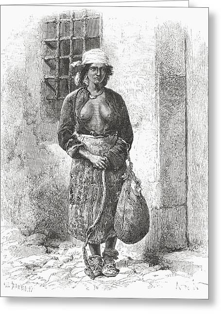 A Bulgarian Gypsy Woman In The 19th Greeting Card by Vintage Design Pics