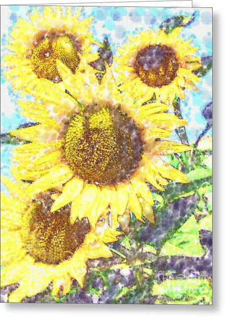Sunflowers Pastels Greeting Cards - A Bunch Greeting Card by Deborah MacQuarrie