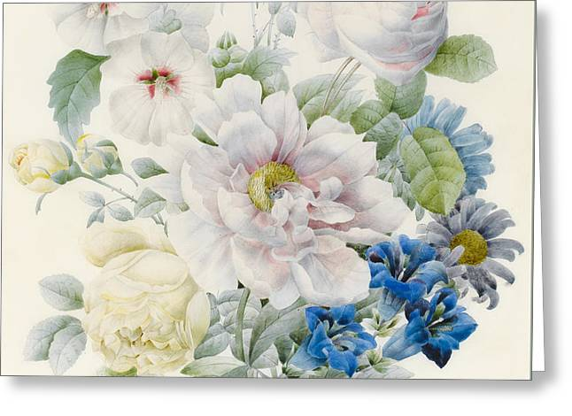 Soft Drawings Greeting Cards - A Bunch of Flowers Greeting Card by Pierre Joseph Redoute