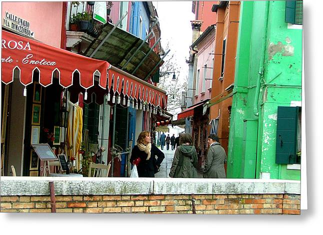 Resturant Art Greeting Cards - A Burano Street Greeting Card by Mindy Newman