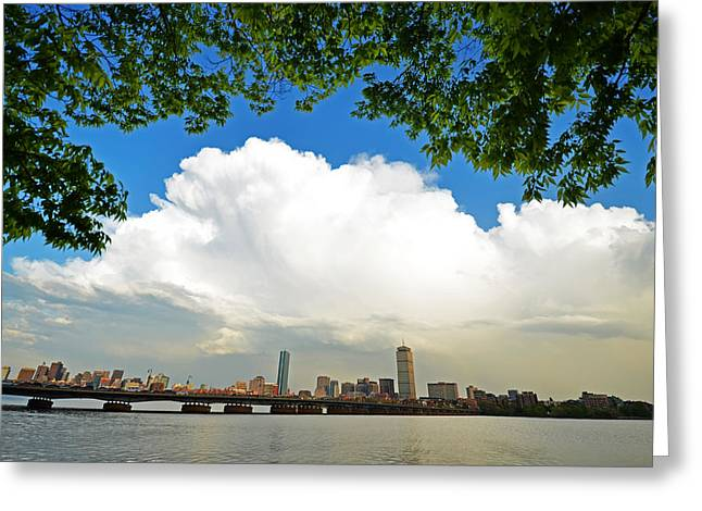 Boston Ma Greeting Cards - A burst of clouds over Boston Greeting Card by Toby McGuire