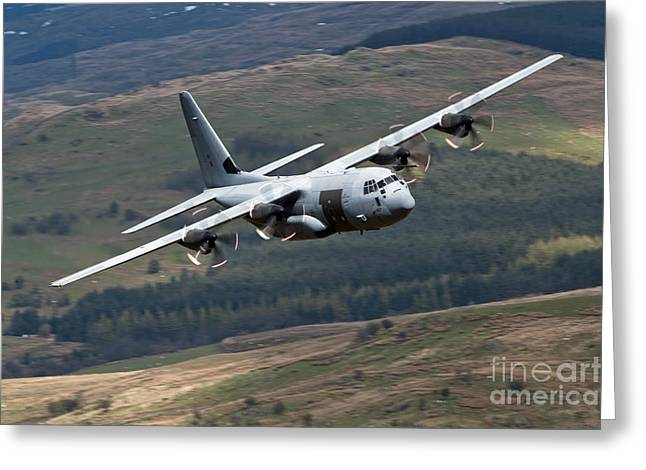 C-130 Greeting Cards - A C-130 Hercules Of The Royal Air Force Greeting Card by Andrew Chittock