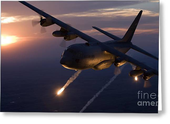 Shooting Guard Greeting Cards - A C-130 Hercules Releases Flares Greeting Card by HIGH-G Productions
