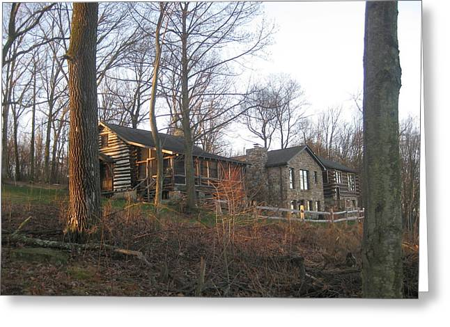 Spiritual Naturism Greeting Cards - A Cabin On The Hill Greeting Card by Robert Margetts