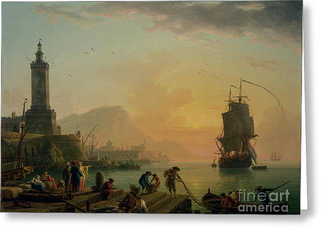 A Calm At A Mediterranean Port Greeting Card by Celestial Images