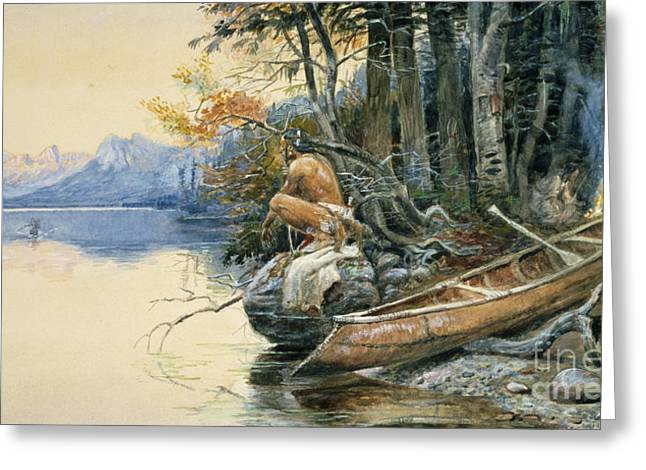 A Camp Site By The Lake Greeting Card by Charles Marion Russell
