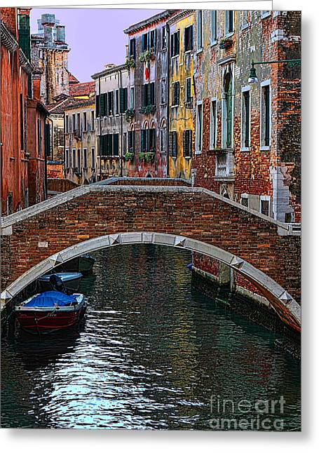 A Canal In Venice Greeting Card by Tom Prendergast