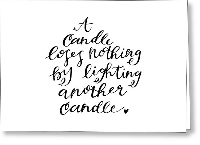 Illustrated Letter Greeting Cards - A Candle Greeting Card by Nancy Ingersoll