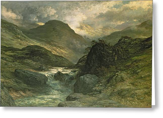 Running Water Greeting Cards - A Canyon Greeting Card by Gustave Dore
