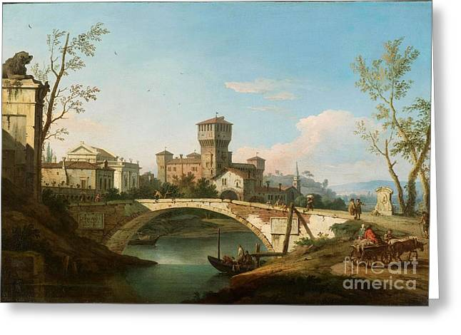 Zocchi Greeting Cards - A Capriccio of a Bridge over a River guarded by a Tower Greeting Card by MotionAge Designs