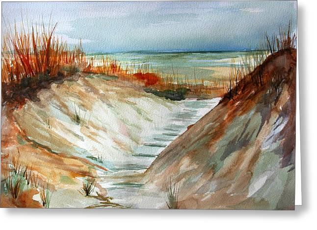 Beach Photographs Paintings Greeting Cards - A Carolina Beach Walk through Greeting Card by Julie Lueders