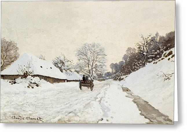 A Cart On The Snowy Road At Honfleur Greeting Card by Claude Monet